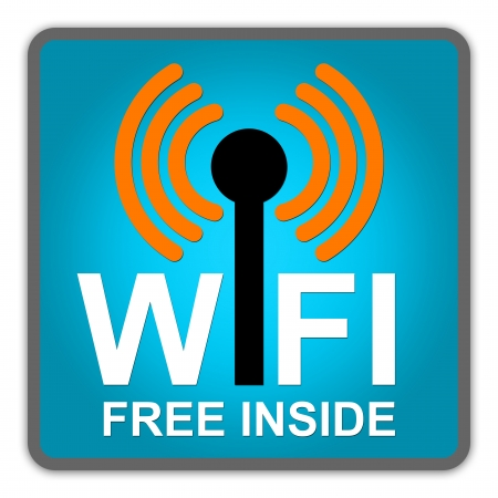 WiFi Free Inside Sign With Blue Square Glossy Style Icon Isolate on White Background Stock Photo - 14687160