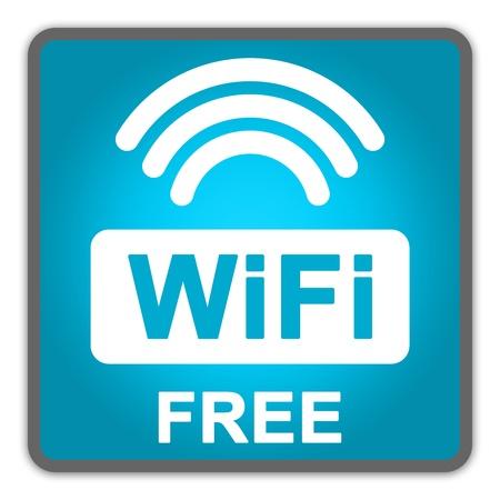 zone: Blue Square Glossy Style Icon Met WiFi Gratis Aanmelden isoleren op witte achtergrond