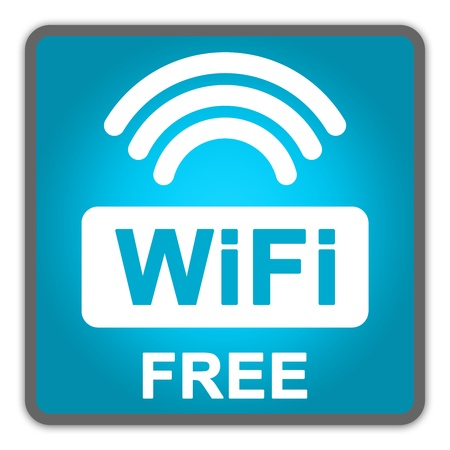 Blue Square Glossy Style Icon With WiFi Free Sign Isolate on White Background  photo