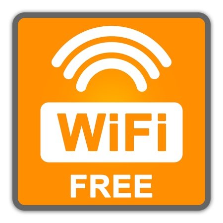 WiFi Free Sign With Orange Square Glossy Style Icon Isolate on White Background Stock Photo - 14687024
