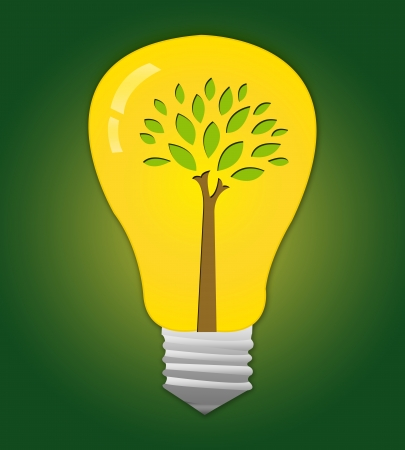 The Light Bulb With Green Tree Inside for Stop Global Warming Campaign Stock Photo - 14687025