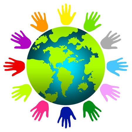 solidaridad: La Tierra Con La Mano colorida alrededor Aislado sobre fondo blanco Foto de archivo