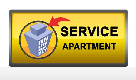 Yellow Square Service Apartment Sign Isolated on White Background photo