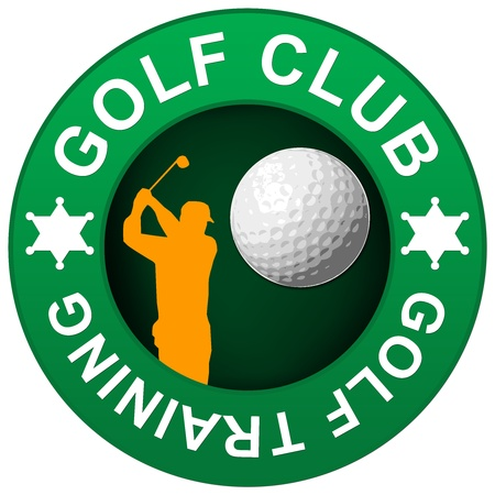 Green Golf Club and Training Sign Isolated on White Background photo