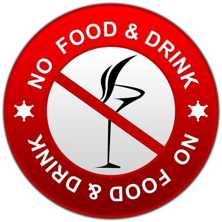 not allowed: Circle No Food and Drink Allowed Sign With Glossy Style Isolate on White Background