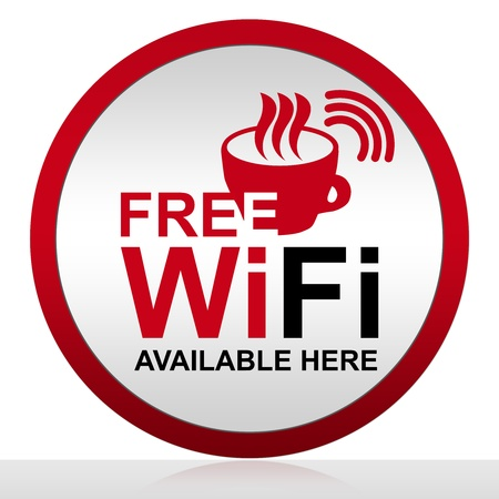 zone: Circle Free Wifi Available Here With Glossy Style for Coffee Shop Isolated on White Background Stock Photo