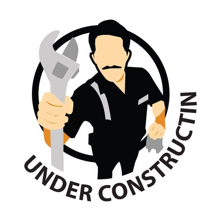 Under Construction Sign With The Technician Icon Isolate on White Background Stock Photo - 14768264