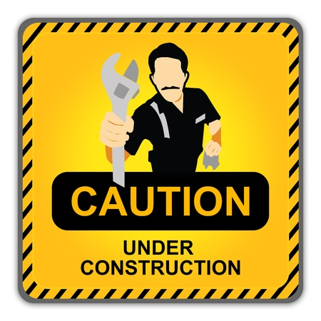 Caution Yellow Under Construction Road Sign With Technician Icon Isolate on White Background photo