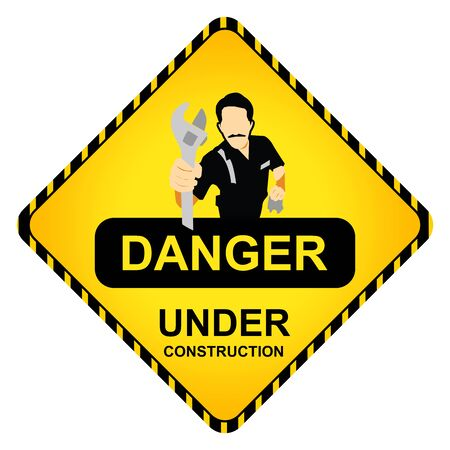 Danger Under Construction Road Sign With The Technician Icon Isolate on White Background photo