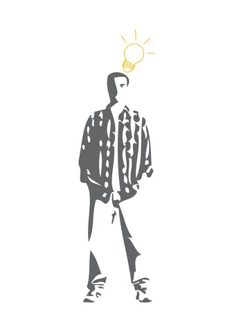 The Man With Light Bulb Over Head Isolated on White Background photo