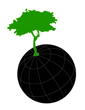 The World With Green Tree For Save The Earth Campaign Isolated on White Background Stock Photo - 14768262