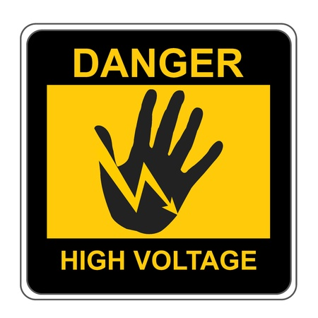 The Square Black and Yellow Danger High Voltage Sign Isolated on White Background  photo