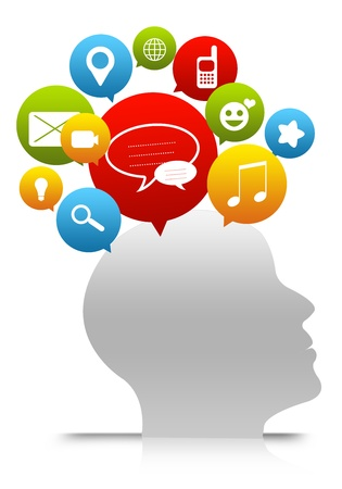 Social Network Concept, Social Media in Mind Isolate on White Background  Stock Photo