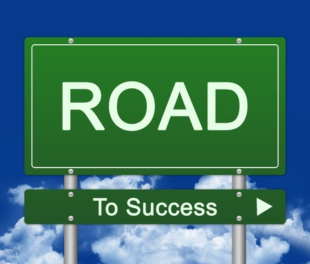 Street Sign, Road Sign To Success With Blue Sky Background  photo