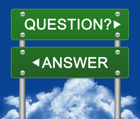 words of wisdom: Question or Answer Street Sign With Blue Sky Background