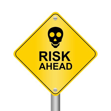 Road Sign With Skull and Message Risk Ahead Isolated on White Background  photo