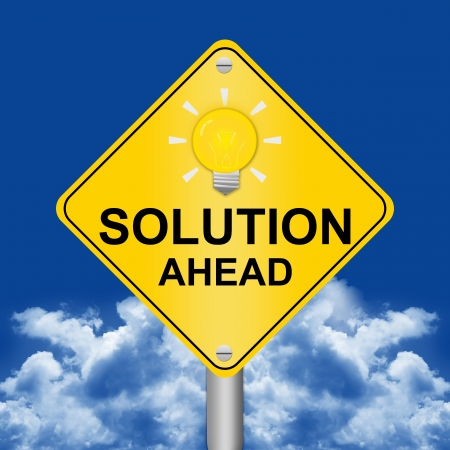 Solution Ahead Road Sign Against A Blue Sky Background  photo