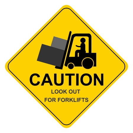 warehouse equipment: Yellow Caution Look Out For Forklifts Sign Isolated on White Background  Stock Photo