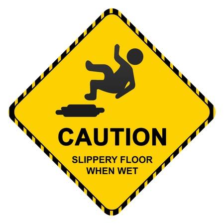 se�alizacion de seguridad: Precauci�n Slippery Wet Floor Cuando Ingresar Aislado sobre fondo blanco Foto de archivo
