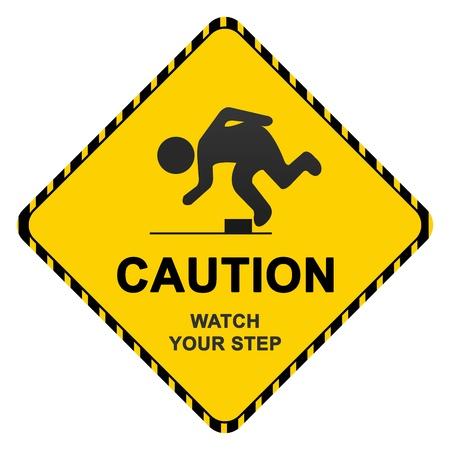 risks ahead: Entrar con Precauci�n Precauci�n Texto Watch Your Step Aislado sobre fondo blanco Foto de archivo