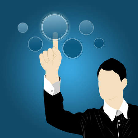 The Businessman Pointing on Blank Button With Blue Gradient Background Stock Photo - 14768313