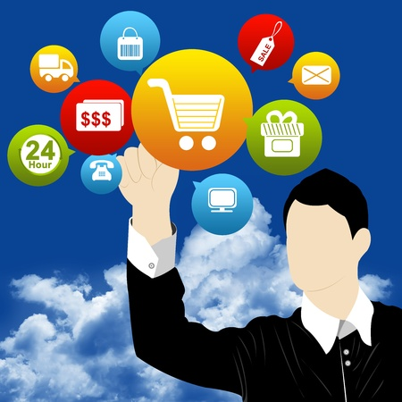 Businessman With Group of Options For Online Shopping Concept With Blue Sky Background  Stock Photo