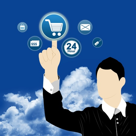 Businessman Choosing One of The Options For Online Shopping Concept With Blue Sky Background  photo