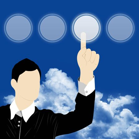 The Businessman Choosing on Blank Circle Button With Blue Sky Background Stock Photo - 14768325