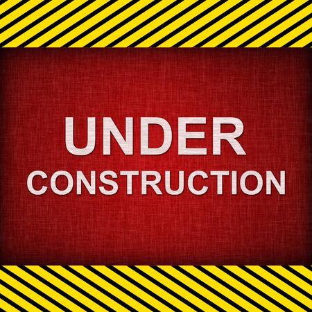 Red Grunge Under Construction Sign  photo