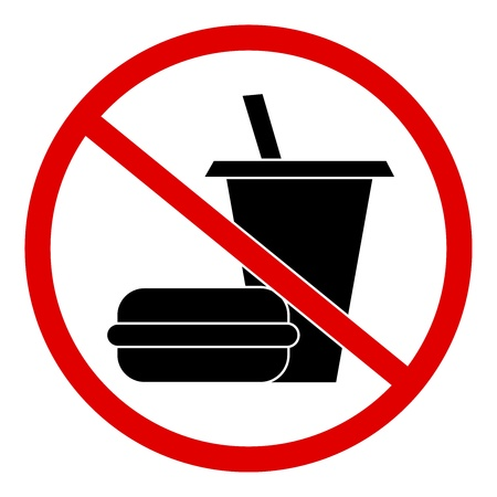 divieto: Circle No Sign Food and Drink Isolato su sfondo bianco
