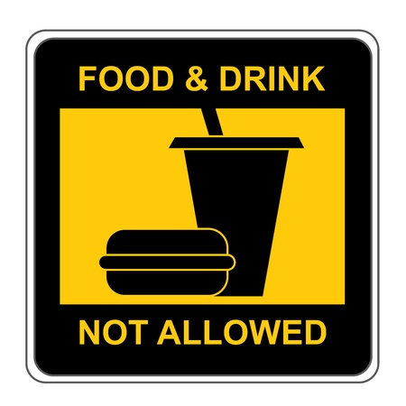 Black and Yellow Square Food and Drink Not Allow Sign Isolate on White Background  photo