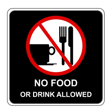 not allowed: No Food or Drink Allowed Sign Isolate on White Background