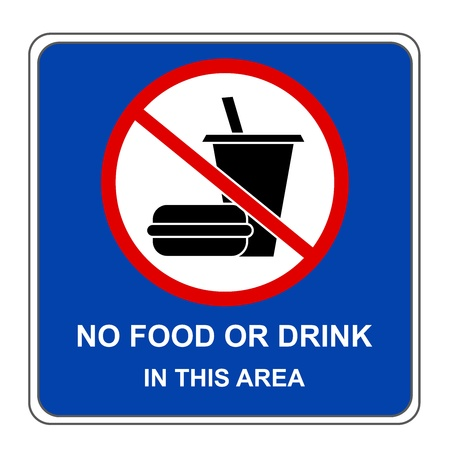 Square No Food or Drink In This Area Sign Isolate on White Background photo