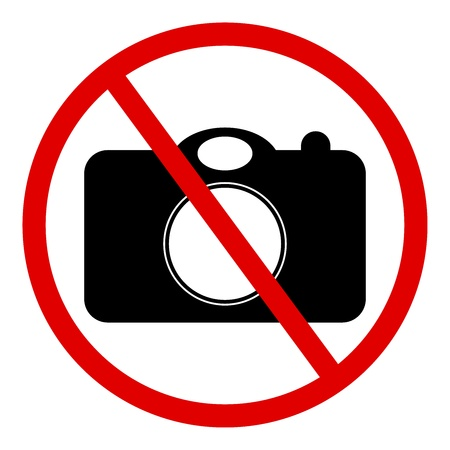 Circle No Photography Sign Isolated on White Background  photo