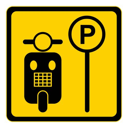 Yellow Motorbikes Parking only Sign Isolated on White Background photo