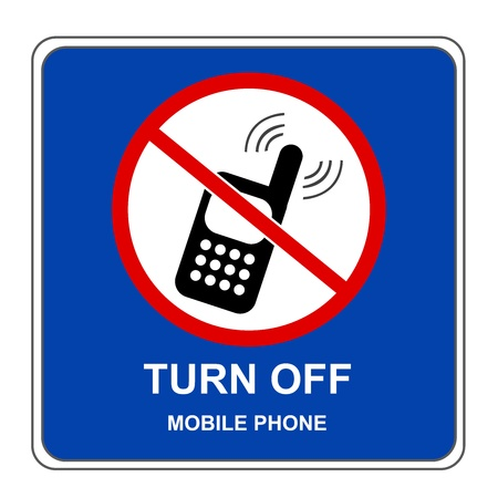 no cell phone: Blue Square Turn Off Mobile Phone Sign Isolated on White Background  Stock Photo