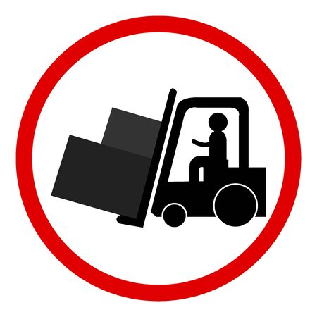 Circle Forklifts Working Sign Isolated on White Background  photo