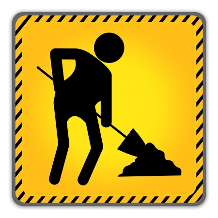Under Construction Road Sign With Worker Icon Isolate on White Background  photo