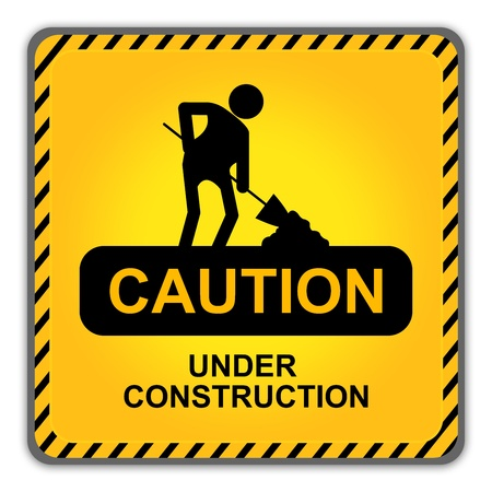 Square Caution Under Construction Sign With Workman Icon Isolate on White Background  photo