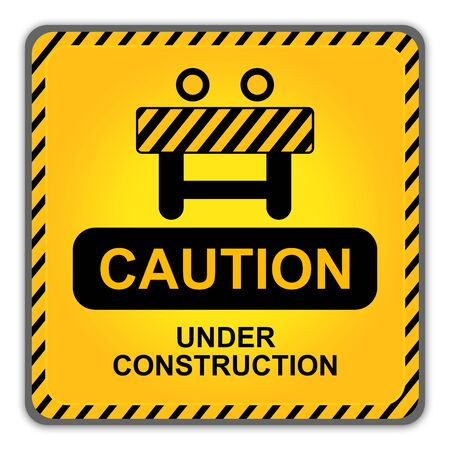 Square Danger Under Construction Traffic Sign With Site Fence Icon Isolate on White Background  photo