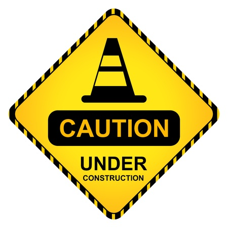 Yellow Caution Under Construction Traffic Sign With Traffic Cone Isolate on White Background photo