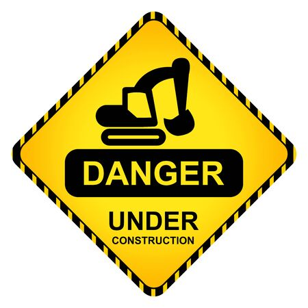 Danger Under Construction Traffic Sign With Backhoe Icon Isolate on White Background Stock Photo - 16711741