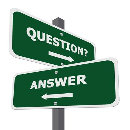 Question vert et Street Sign Réponse Isoler sur fond blanc Banque d'images