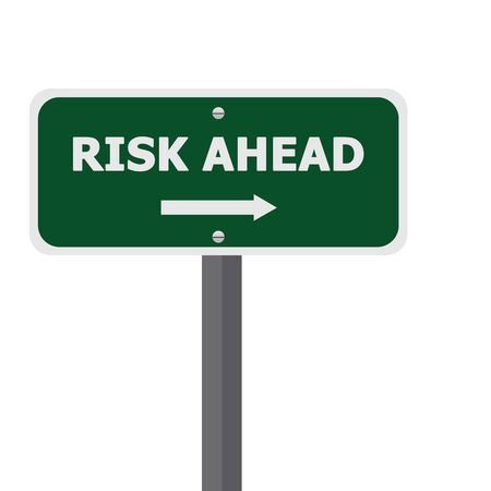 Risk Just Ahead Street Sign Isolate on White Background  Stock Photo - 16711611