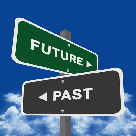 Two Way Street Sign Pointing to Future and Past With Blue sky Background  photo