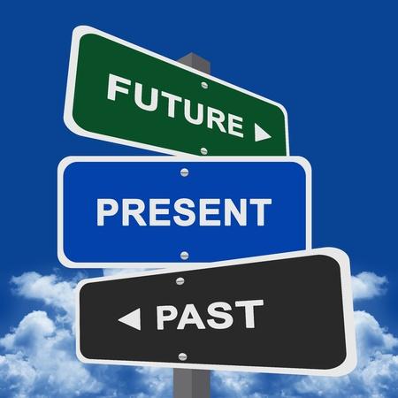 미래에 거리 표지판 포인팅, 현재와 과거