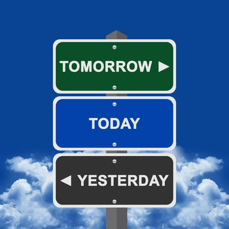 yesterday: Street Sign Pointing to Tomorrow, Today and Yesterday With Blue sky Background  Stock Photo