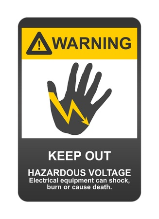burn out: Warning Sigh With Message Keep Out, Hazardous Voltage Electrical Equipment Can Shock, Burn or Cause Death Isolated on White Background  Stock Photo