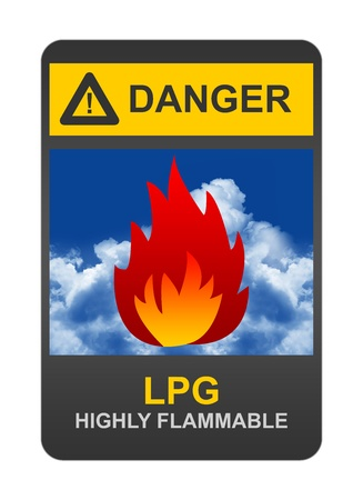 Danger LPG Highly Flammable Sign  Stock Photo - 16711748