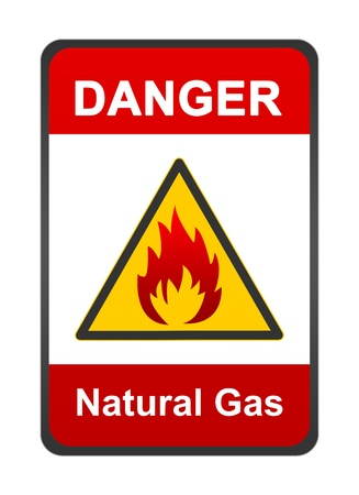 Warning Flammable Sign, Danger Natural Gas Isolated on White Background  Stock Photo - 16711631